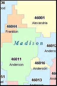 Madison Zip Code Map by Madison County Indiana Digital Zip Code Map