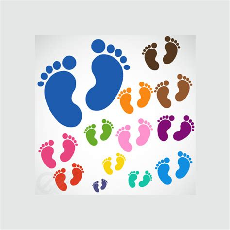 colorful baby 13 colorful baby footprints vector set welovesolo