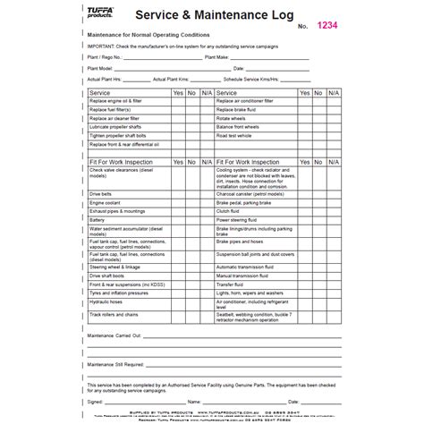 service books maintenance service log book tuffa products