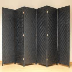Privacy Screen Room Divider Black 6 Panel Solid Style Wicker Room Divider Made Privacy Screen Separator Ebay