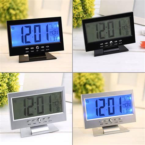 jam weker alarm meja led calendar temperatur clock black