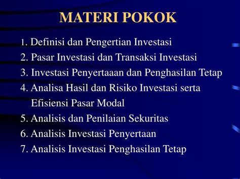 Pengantar Pengetahuan Pasar Modal Edisi 6 Sunariyah ppt manajemen investasi powerpoint presentation id 5676263