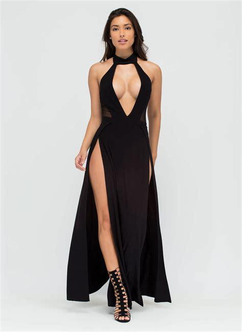 Slit Dres legs for days slit maxi dress black yellow gojane