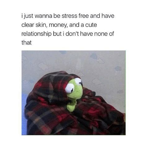 Cute Relationship Memes - i just wanna be stress free and have clear skin money and