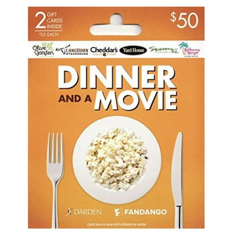 Dinner And A Movie Gift Card Darden - dinner and a movie date darden fandango gift cards
