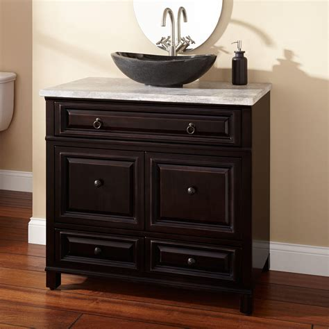 Top Of Kitchen Cabinet Decor Ideas by 36 Quot Orzoco Vessel Sink Vanity Espresso Bathroom