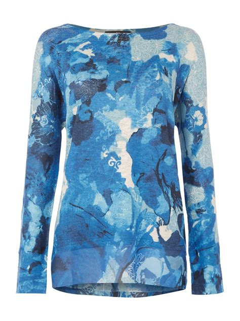 Jumper Printed Blue Helicopter simon jeffrey printed jumper in blue lyst