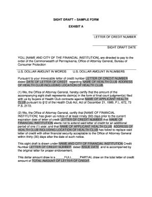 letter of credit draft template sight draft form fill printable fillable blank