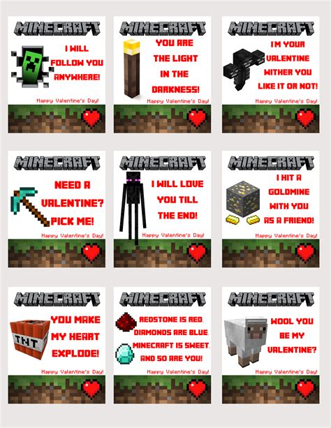 minecraft valentines day card craft printable images gallery category page 5