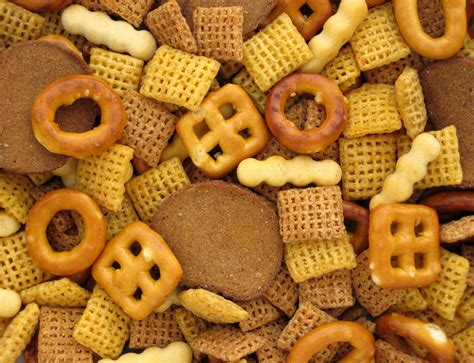 mixing and food chex mix is my favorite snack food
