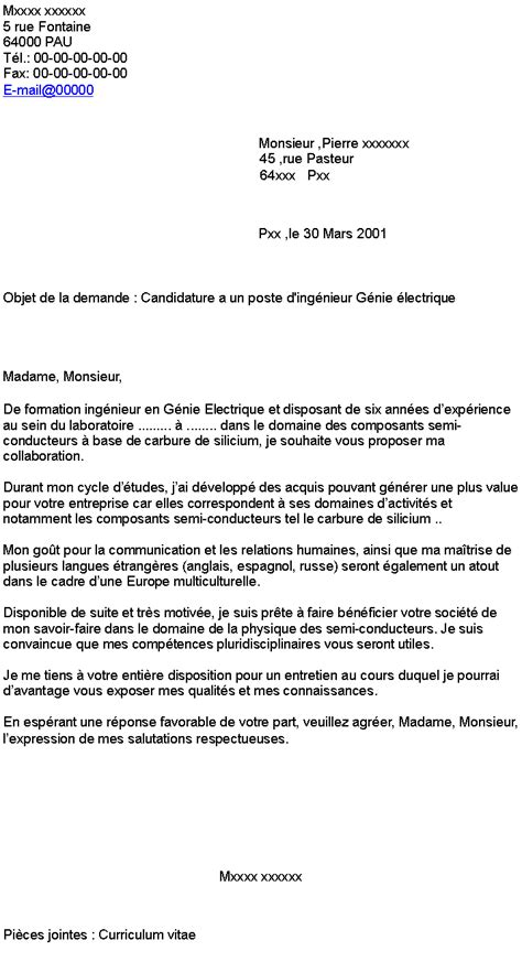Lettre Motivation Ecole De Patisserie Candidature A Un Poste D Ing 233 Nieur G 233 Nie 233 Lectrique