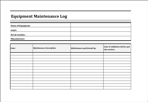 equipment maintenance log word excel templates