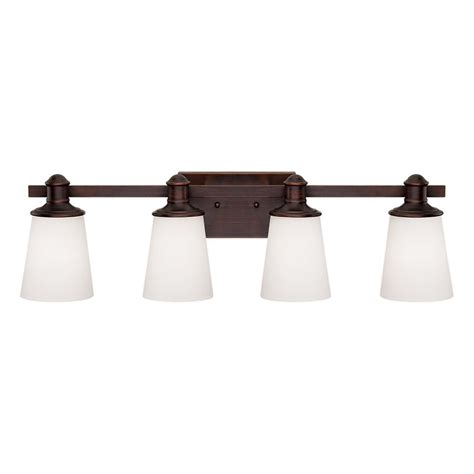 Bathroom Vanity Lights Bronze Shop Millennium Lighting 4 Light Cimmaron Rubbed Bronze Standard Bathroom Vanity Light At Lowes