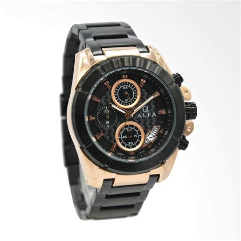 Keunggulan Jam Tangan Alfa jual alfa stainless steel hitam plat hitam jarum jam tangan pria gold 33021mbr