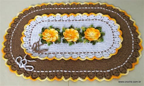 croche oval bico duplo tapete com flores jogo de banheiro croche oval tapete oval com bico duplo croche com br