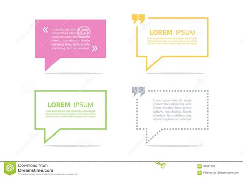 Set Of Quote Text Bubble Template Quote Bubble Quote Form Stock Vector Image 61677963 Text Template