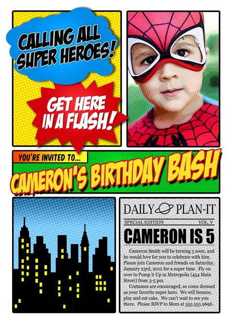 superhero invitation template best template collection