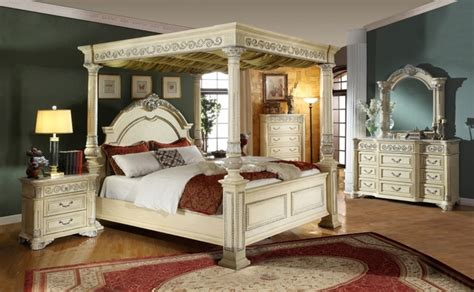 royale poster canopy bedroom furniture with marble accents kamella antique white traditional poster canopy bedroom