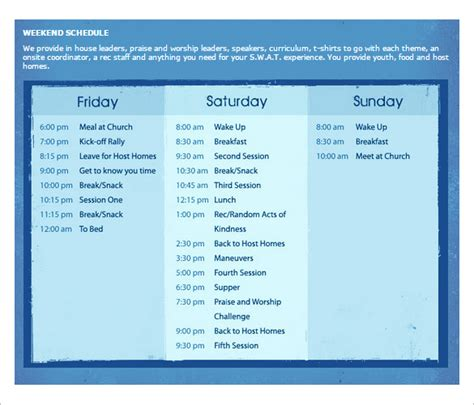 weekend calendar template weekend schedule template calendar template 2016