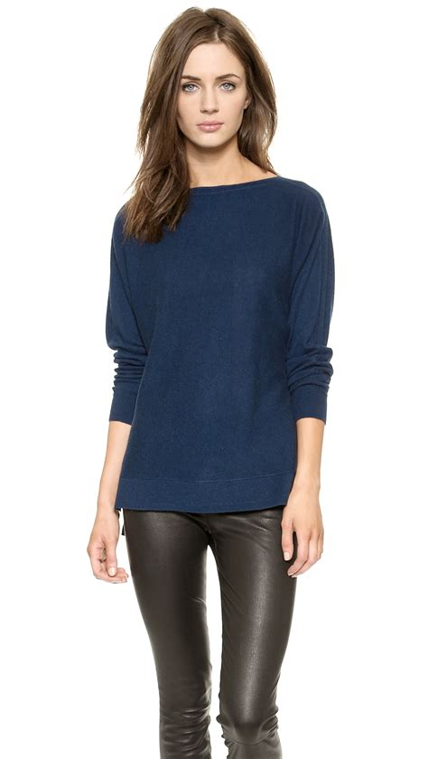 blue boat neck sweater lyst vince cashmere boat neck sweater officer in blue