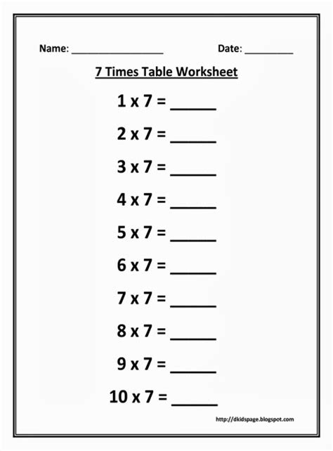 multiplication worksheets table of 7 kids page 7 times multiplication table worksheet