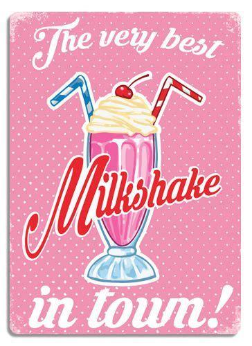wtf  milkshake  town pink metal wall sign