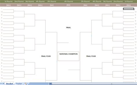Blank Ncaa Bracket Template ncaa men s basketball tournament bracket excel template