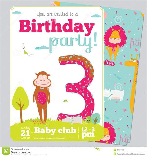 animal birthday card template birthday invitation card template with stock