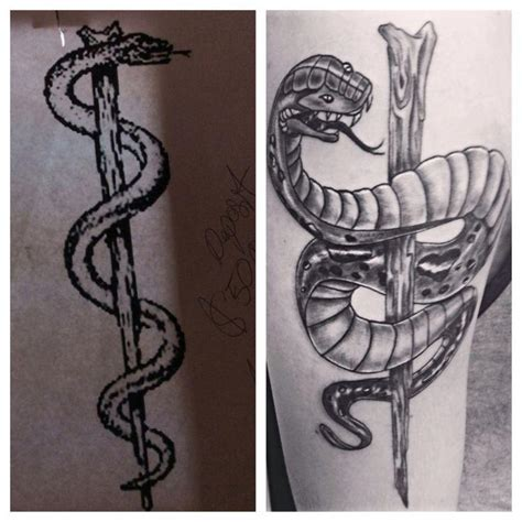 rod of asclepius tattoo designs staff of asclepius tribal www imgkid the