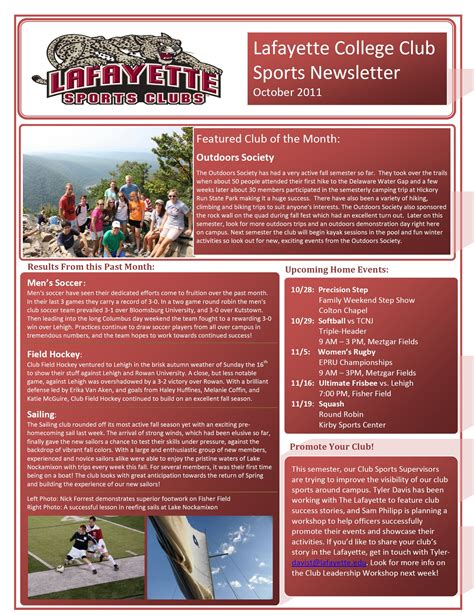 College Letter Sports October Club Sports Newsletter Featuring Outdoors Society 183 Recreation Services 183 Lafayette