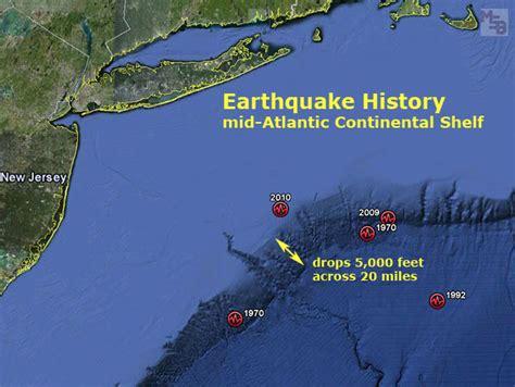 Continental Shelf Location by Earthquake History East Coast Usa Continental Shelf