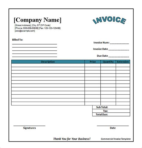excel invoice template with database invoice format in excel sheet free free