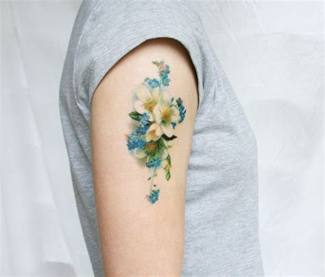 tattoo flower vintage vintage blue and white floral temporary tattoo
