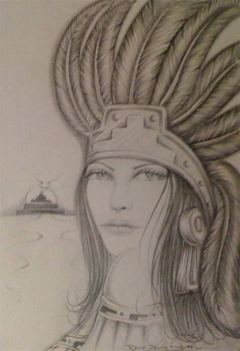 aztec princess drawing by rene nava