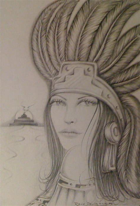 aztec princess drawing by rene nava