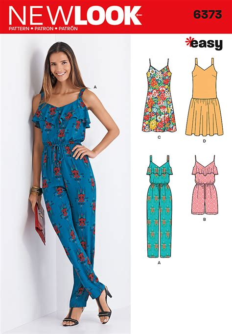 jumpsuit paper pattern new look 6373 sewing pattern uncut miss ladies plus dress