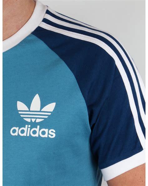Tshirt Adidas Reutro Navy adidas originals retro 3 stripes t shirt sea blue navy