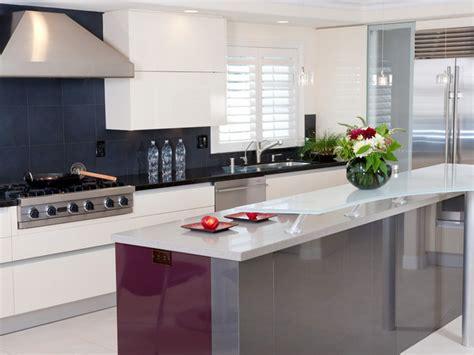 black and white kitchen island designers portfolio modern black and white kitchen with red and gray island hgtv
