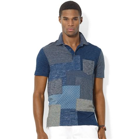Patchwork Shirts - ralph polo indigo patchwork shirt in blue for