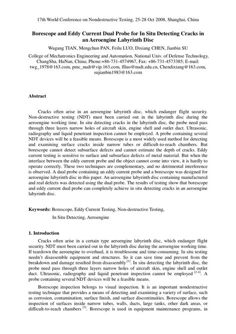 (PDF) Borescope and Eddy Current Dual Probe for In Situ