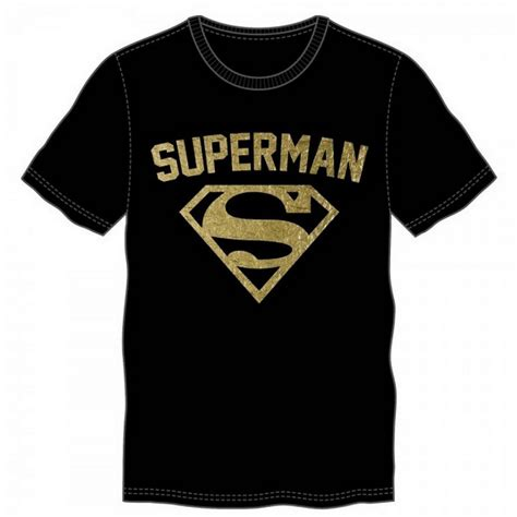 T Shirt Bodyfit Superman Gold superman gold foil logo s black t shirt adults large