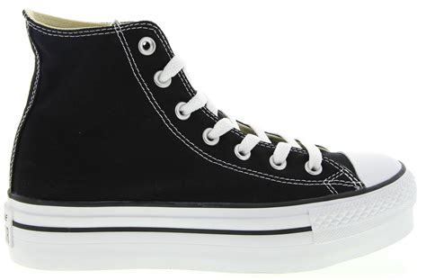 converse chuck platform high top sneakers in black