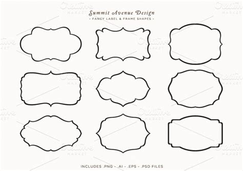fancy card shape template fancy frames label shapes objects on creative market
