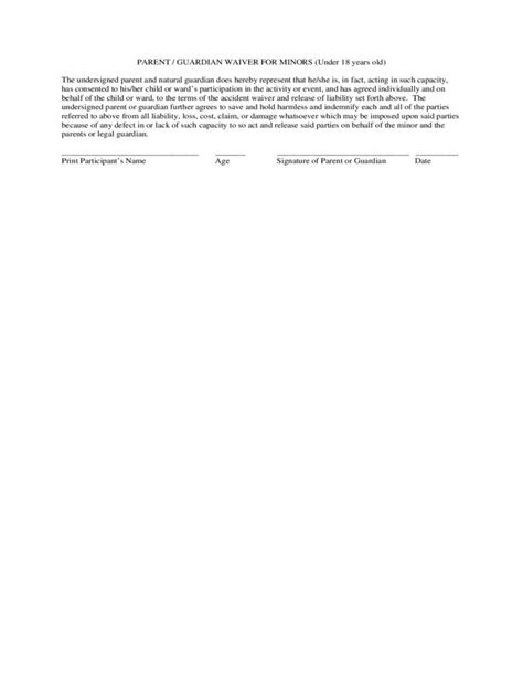 standard accident waiver and release of liability form