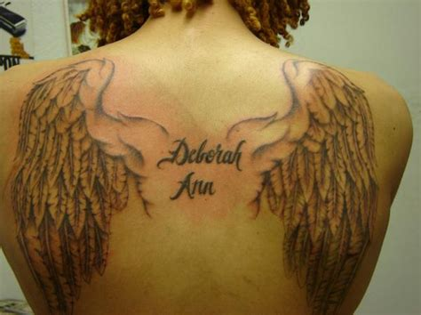 angel wing back tattoo special grey ink wings tattoos on back