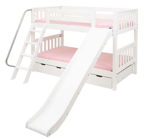 bunk beds with slide maxtrix low bunk bed w angled ladder and slide twin twin