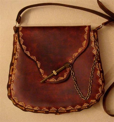 Handmade Leather Purse Patterns - tooled brown leather crossbody bag shoulder bag