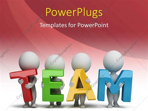 powerpoint template 3d human characters holding hands in