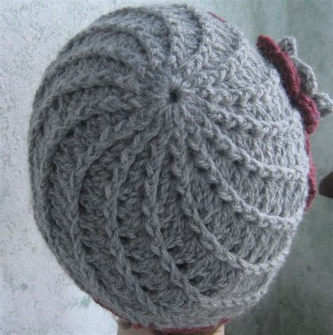 pattern crochet hat with flower crochet pattern womens hat pattern with spiral rib and