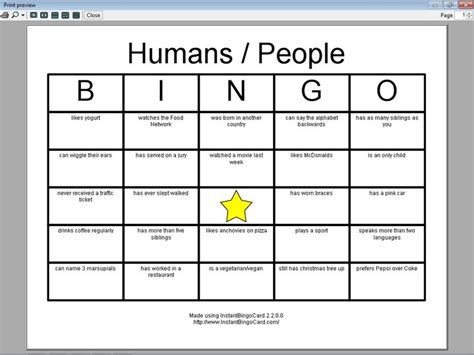 view document humans people bingo cards